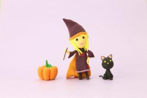 ハロウィン魔女と黒猫とかぼちゃ