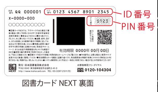 図書カードNEXTの裏面情報例